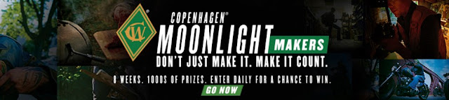 Copenhagen Tobacco Products are giving away a HARLEY DAVIDSON MOTORCYCLE worth almost $7000 or a FLYCRAFT STEALTH BOAT and a MONIKER CUSTOM GUITAR!