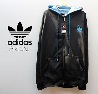 Jaket Adidas Fleece Luar Hitam Dalam Biru 023 Originals