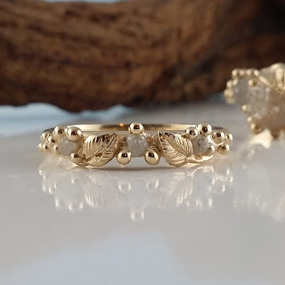 Delicate leaf wedding band with three Rough Uncut diamonds, stackable.