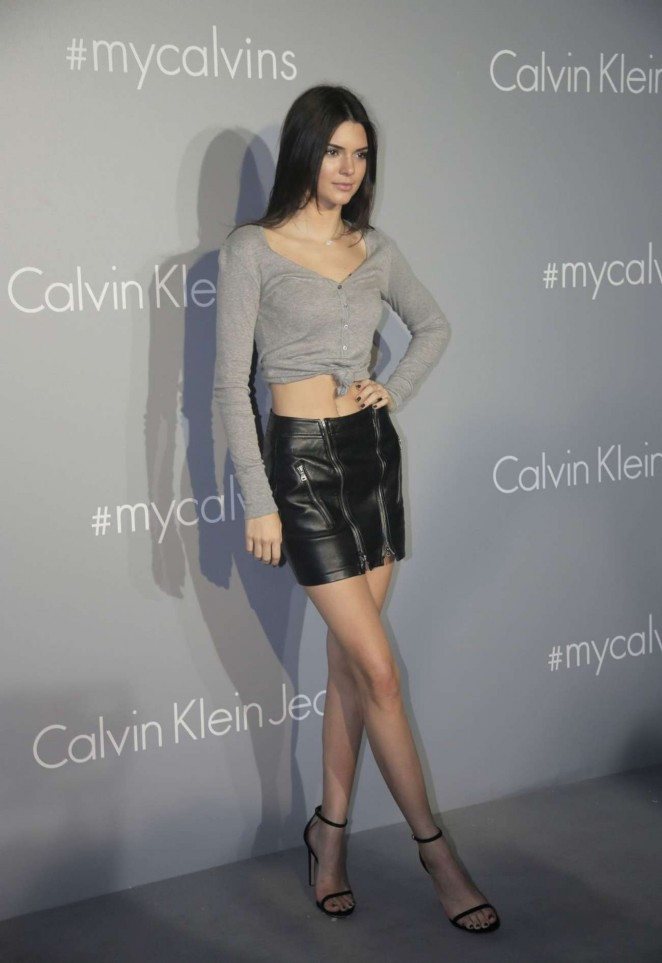 Kendall Jenner shows endless legs in a leather skirt at Calvin Klein event in Hong Kong