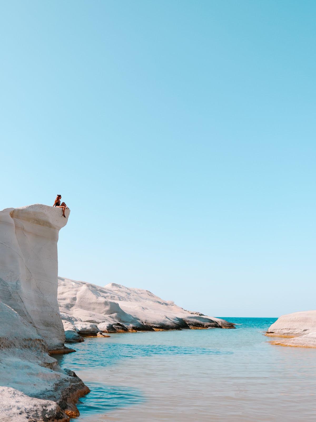 Sarakiniko Beach Cliff in Milos island, Greece
