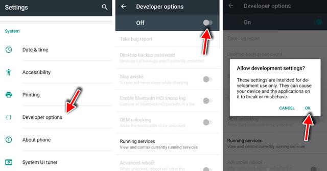 turn on developer options
