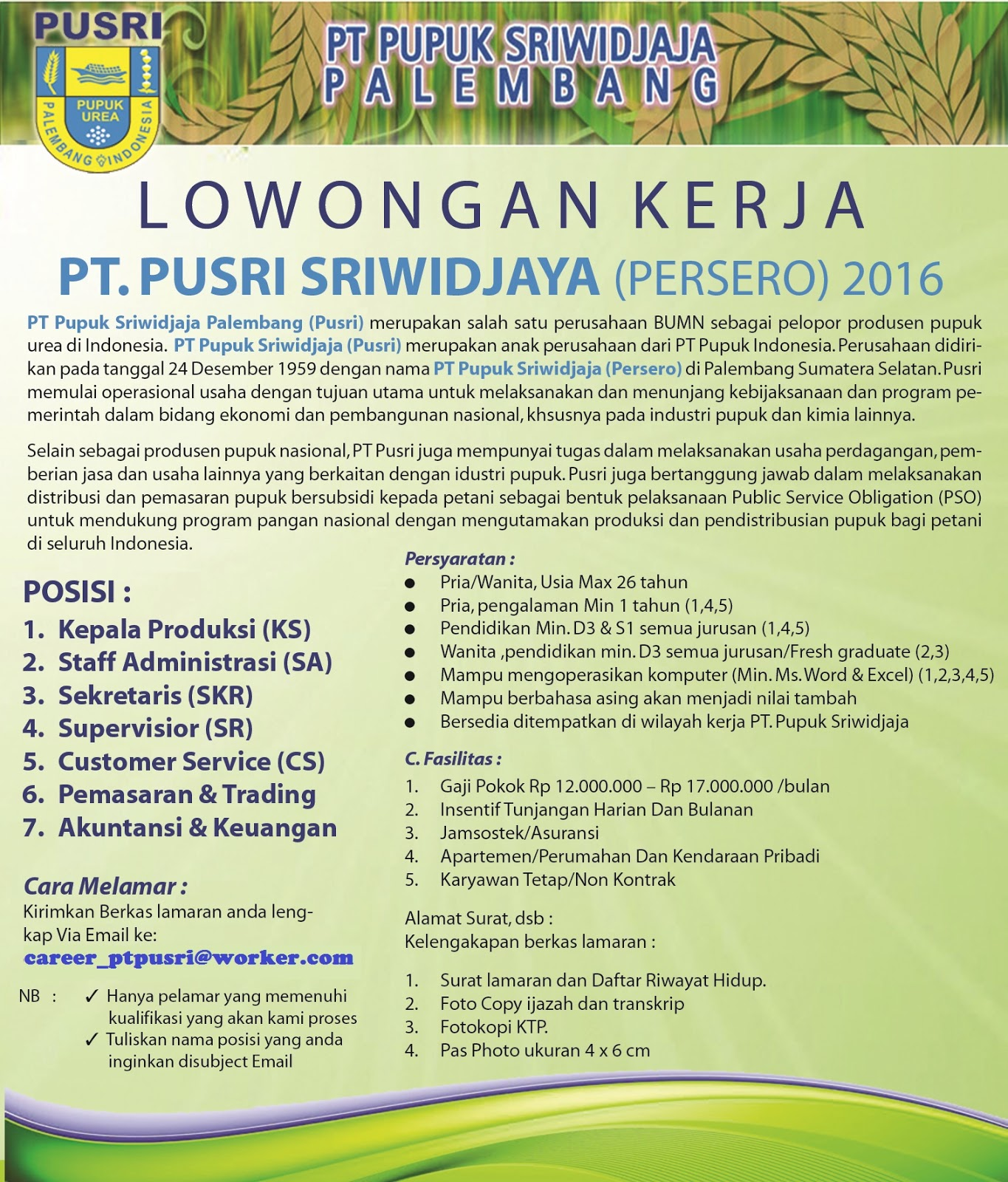 INFO Lowongan Kerja Bulan Agustus dan September 2016 PT.PUSRI PERSERO  Info Bursa Lowongan