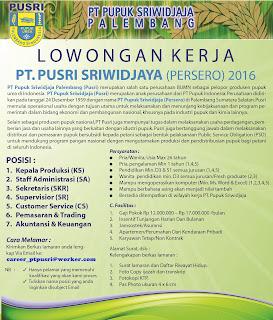 INFO Lowongan Kerja Bulan Agustus dan September 2016 PT.PUSRI (PERSERO)