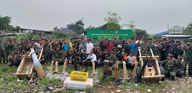 Kodim Depok Bersama DPUPR Bersihkan Situ Pladen