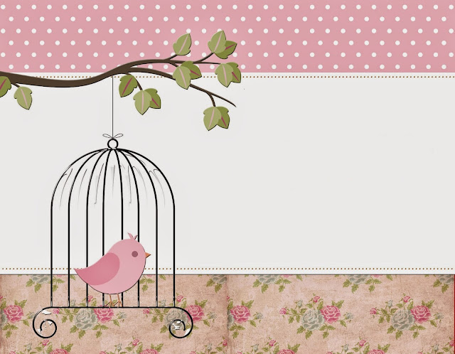 Vintage Flower with Birds Free Printable Invitations, Labels or Cards.