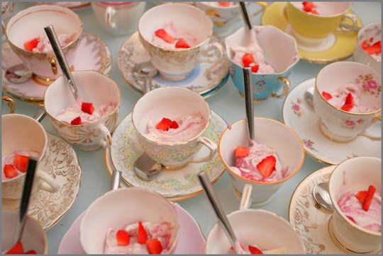 eton mess in vintage teacups