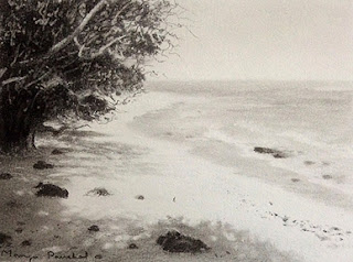 Charcoal sketching of a seashore at Bamboo island , By Manju Panchal