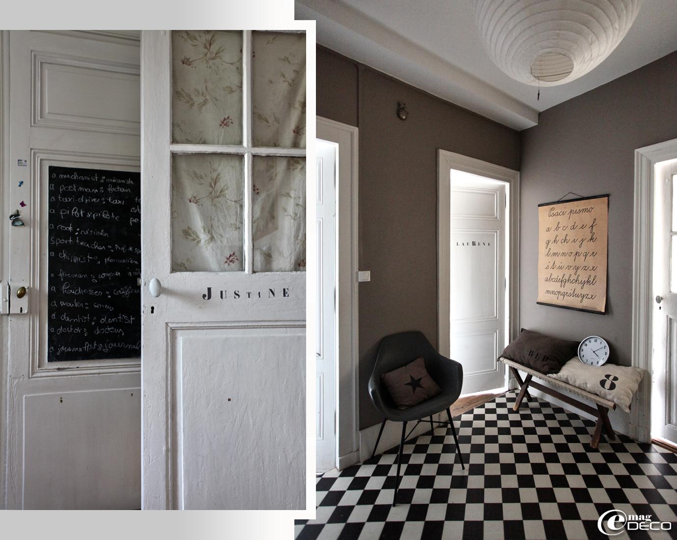 papier peint damier noir et blanc. Black Bedroom Furniture Sets. Home Design Ideas