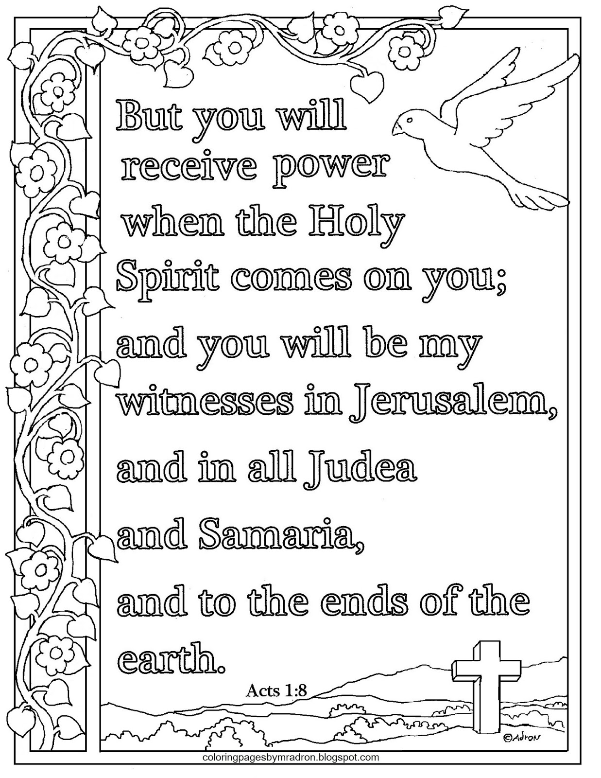 Coloring Pages For Kids By Mr Adron Acts 1 8 Print And Color Page You Will Be My Witnesses In Jerusalem