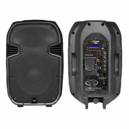 best pylepro pphp157ai 15 inch 1400 watt portable powered 2 way full range pa speaker with built. Black Bedroom Furniture Sets. Home Design Ideas