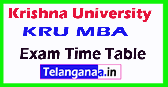 Krishna University KRU MBA Exam Time Table