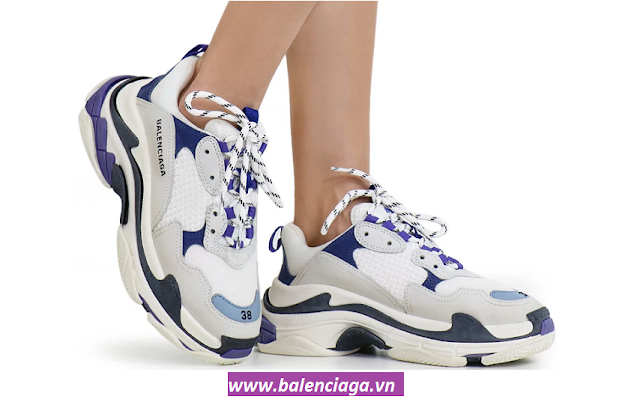 Giày Balenciaga Triple S blue/purple phối màu xanh tím ấn tượng cho nam nữ