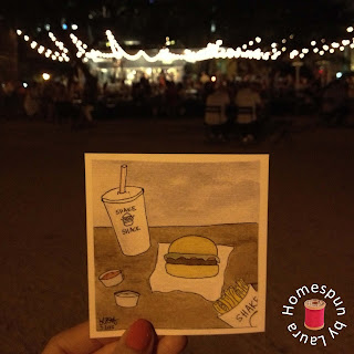watercolor painting of Shake Shack in New York City