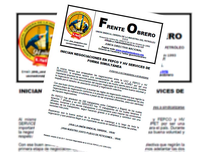 INICIAN NEGOCIACIONES EN FEPCO Y HV SERVICES DE FORMA SIMULTÁNEA