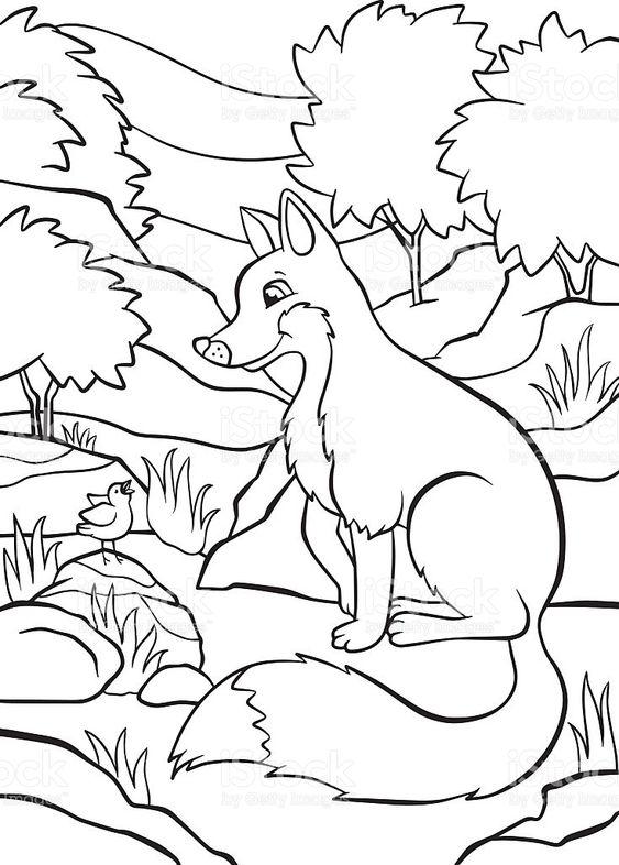 Tranh tô màu con cáo đang ngồi trong rừng