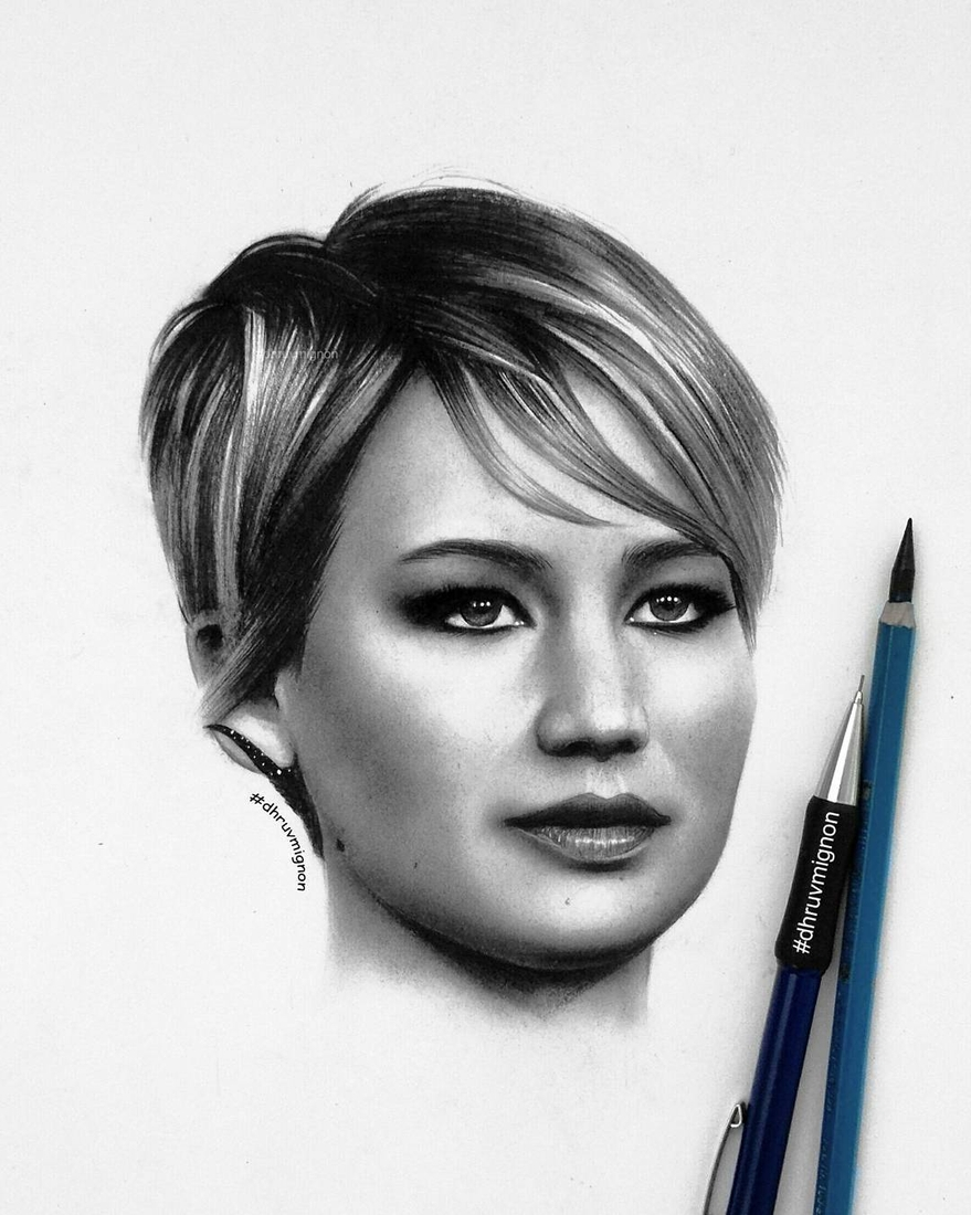 07-Jennifer-Lawrence-dhruvmignon-Celebrity-Miniature-Black-and-White-Pencil-Portraits-www-designstack-co
