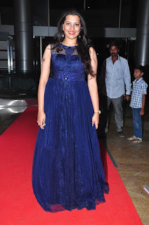 Geetha Madhuri Pictures in Blue Long Dress at Oopiri Audio Launch ~ Celebs Next