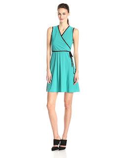 Star Vixen Women's Sleeveless Faux-Wrap Dress