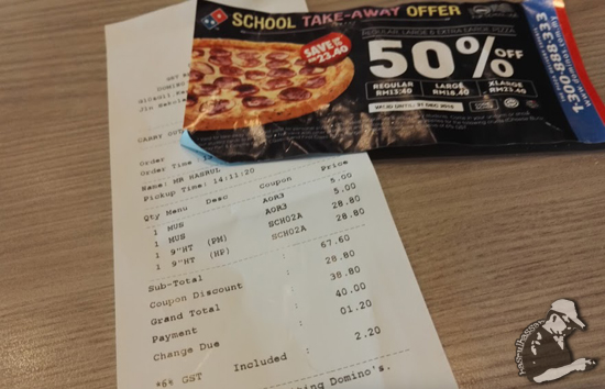 School Take-Away Offer Domino's Pizza