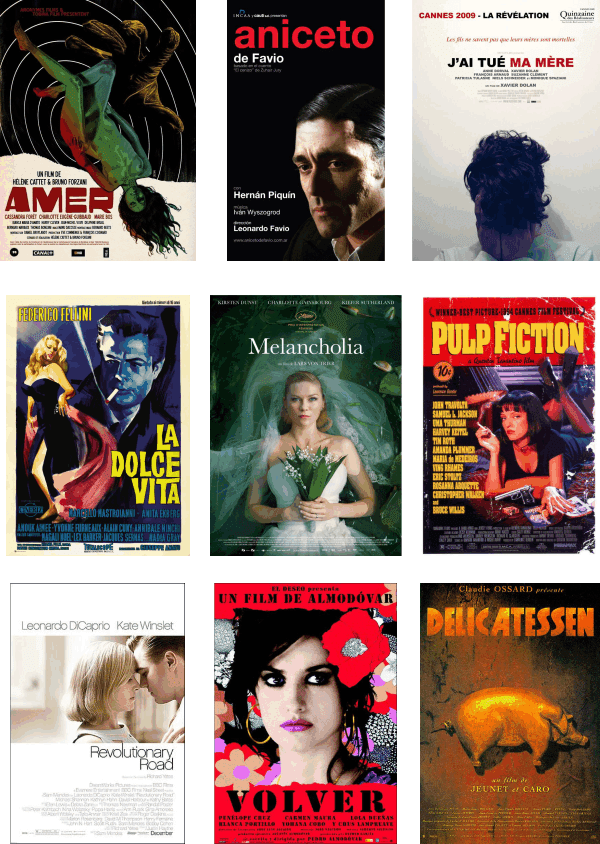 Volver, Delicatessen, Revolutionary Road, Pulp Fiction, Amer, Aniceto, etc.