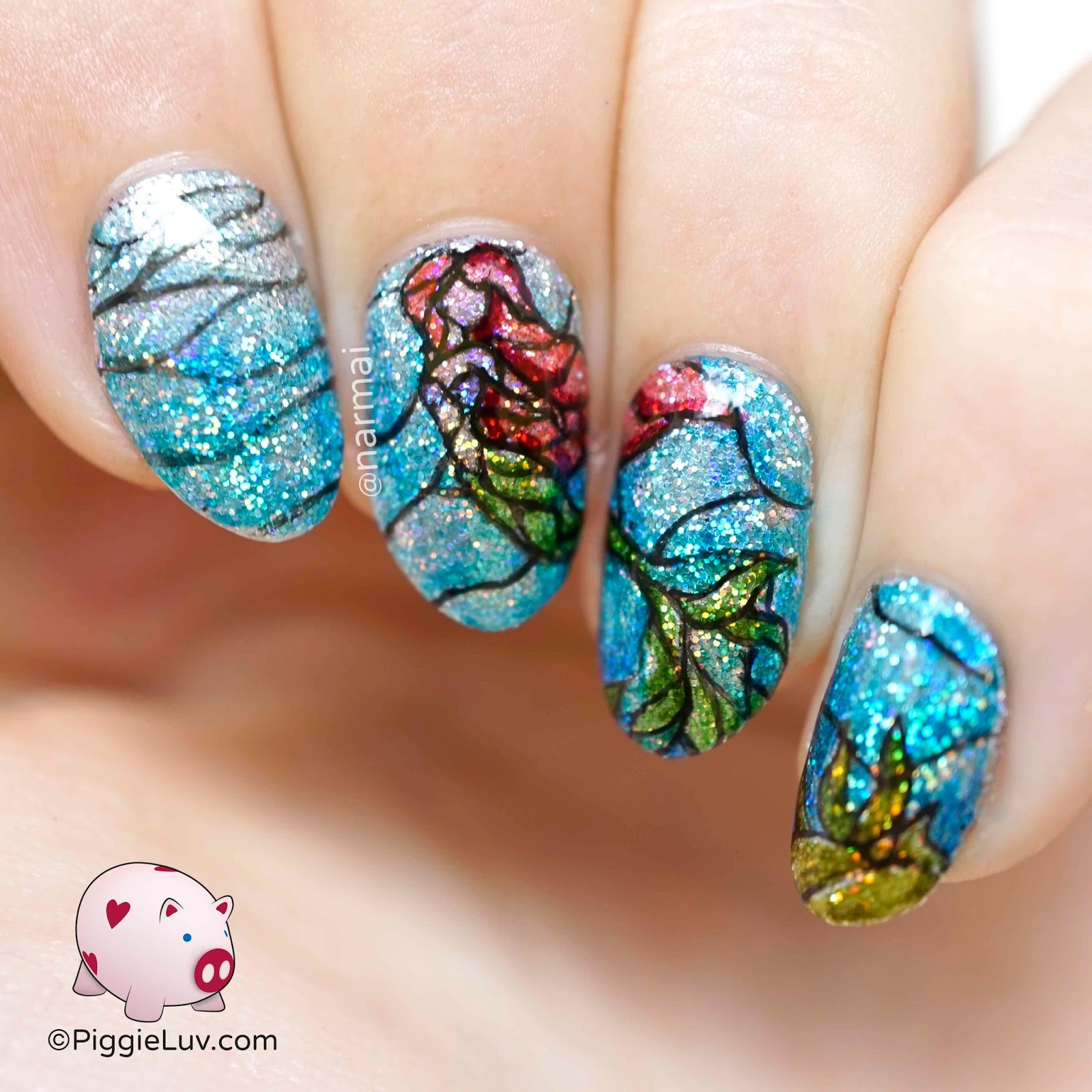 PiggieLuv: Stained glass mermaid nail art