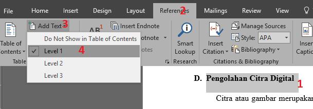 Menentukan level untuk membuat daftar isi otomatis pada Skripsi atau Makalah