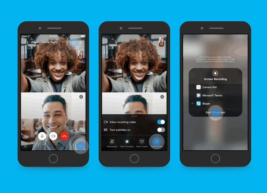 "Your device is no longer a limitation on getting more done with Skype app. With the latest beta update, you can now share your smartphone screen on your Android or iOS device during a video call. Simply tap on ""..."" three dot menu and select Share Screen to get started."