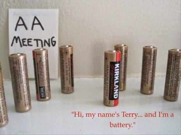 Funny AA Battery Meeting Joke Picture - hi, my name's Terry... and I'm a battery