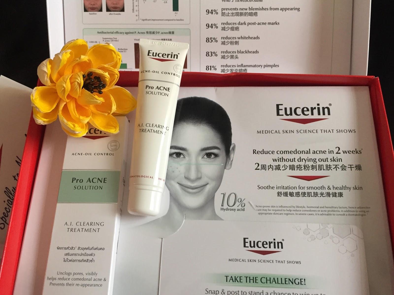 Eucerin proacne, hilangkan jerawat, rawat jerawat, kulit muka, beauty