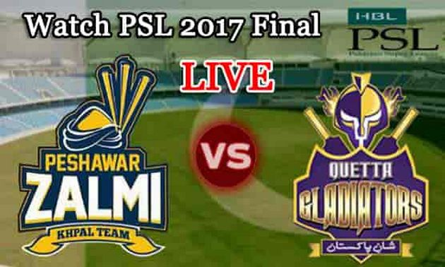 Watch PSL Final Peshawar Zalmi vs Quetta Gladiators Live