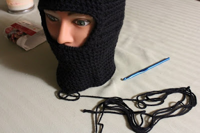 ninja mask, balaclava, crochet, WIP