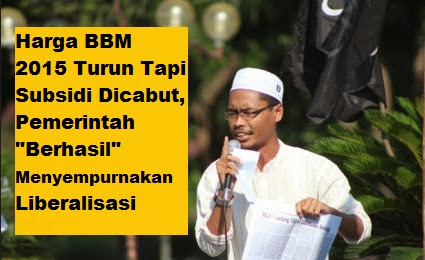 "BANJARBARU - Kebijakan rezim Jokowi-JK diawal tahun 2015 dengan menurunkan harga sekaligus mencabut subsidi BBM dinilai aktivis Hizbut Tahrir Indonesia (HTI) Kalimantan Selatan sebagai ""keberhasilan"" pemerintah menyempurnakan liberalisasi sektor Migas.  Pengurus DPD I HTi Kasel, Ustadz Pujo Nugroho kepada banuasyariah.com Jumat (2/1/2015) malam mengatakan pencabutan subsidi menunjukkan telah semakin sempurnanya liberalisasi tata kelola dan tata niaga minyak di Indonesia."