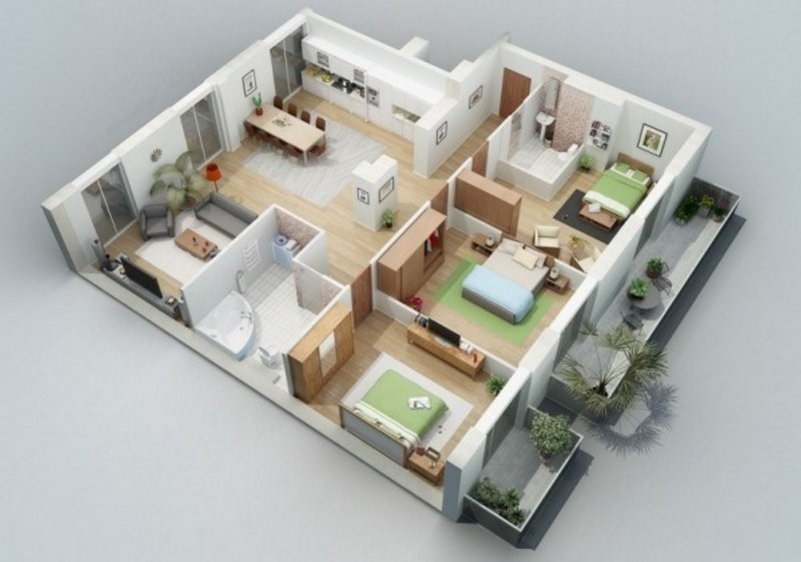 denah rumah modern type 100 1 2 lantai yang kreatif