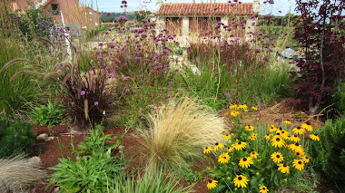 Jardín de estilo naturalista en un restaurante de Galicia