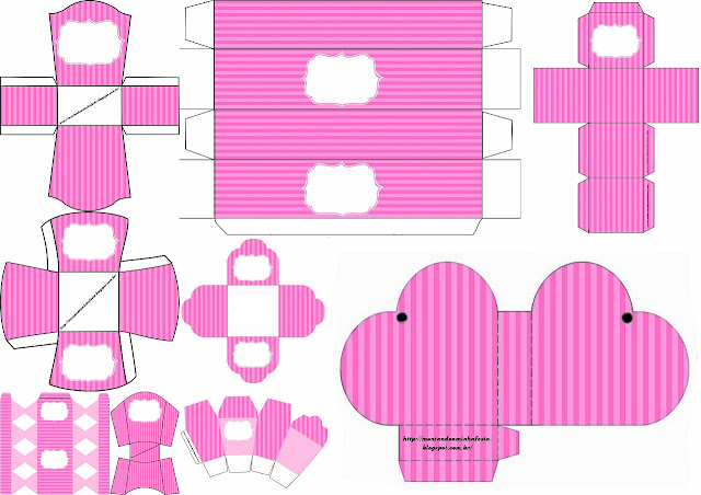 Pink Stripes: Free Printable Boxes.