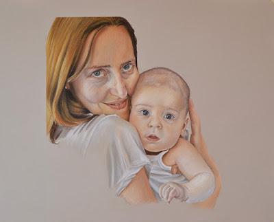 Retrato de madre con su hijo a pastel