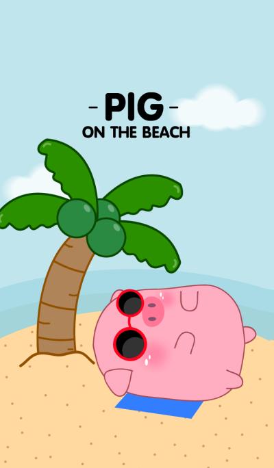Cute Pig On The Beach Theme