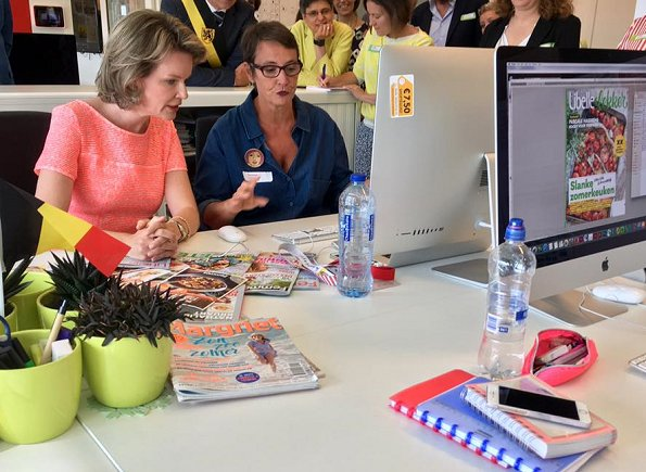 Queen Mathilde of Belgium visited the editorial rooms of the country's oldest women's magazine Libelle at Sanoma Media in Mechelen