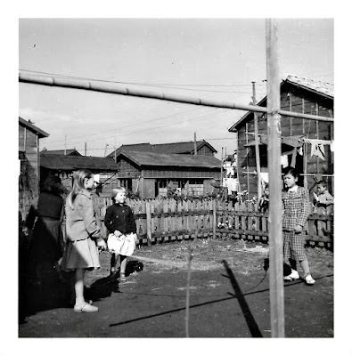 Tanya Sarsfield and Elena Vasilev with Japanese friends in the early 1950's in  Shinagawa, Toyko, Japan