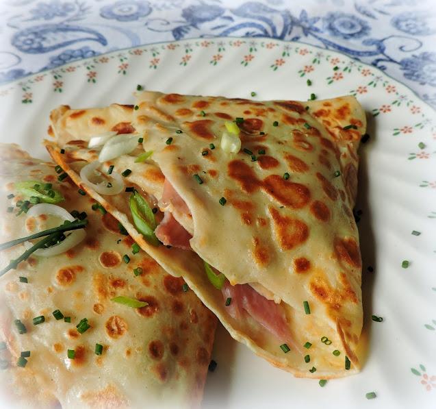 Ham, Gruyere & Spring Onion Crepes