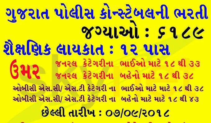 Gujarat Police 6189 Constable Recruitment 2018