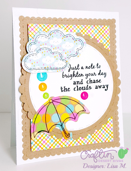 This is a picture of Chase The Clouds Away greeting card created In The Crafting Cave with Lisa using Craftin Desert Divas products.