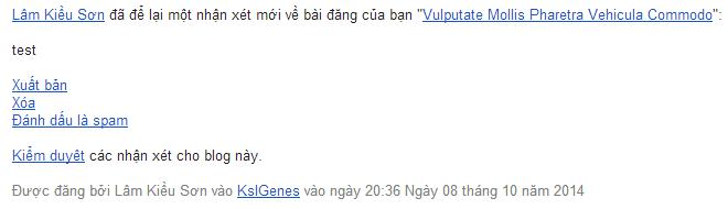 Email kiểm duyệt nhận xét gửi về từ Blogger