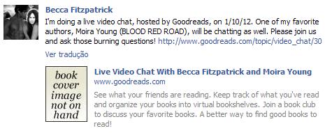 News: Chat com a autora Becca fitzpatrick no goodreads. 17
