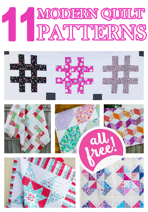 11 Modern Quilt Patterns for you to sew... all easy and free!