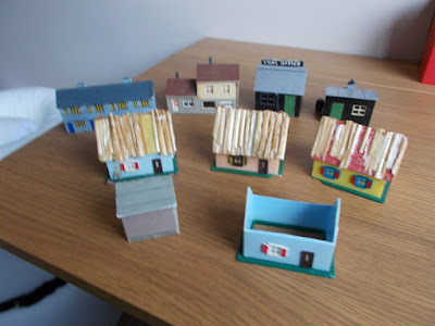 Assorted plastic buildings for dioramas in approx N Gauge size