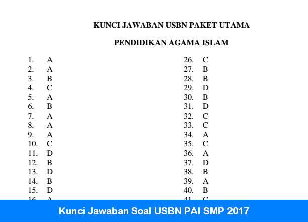 Kunci Jawaban Soal USBN PAI SMP 2017