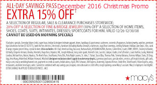 free Macy's coupons december 2016