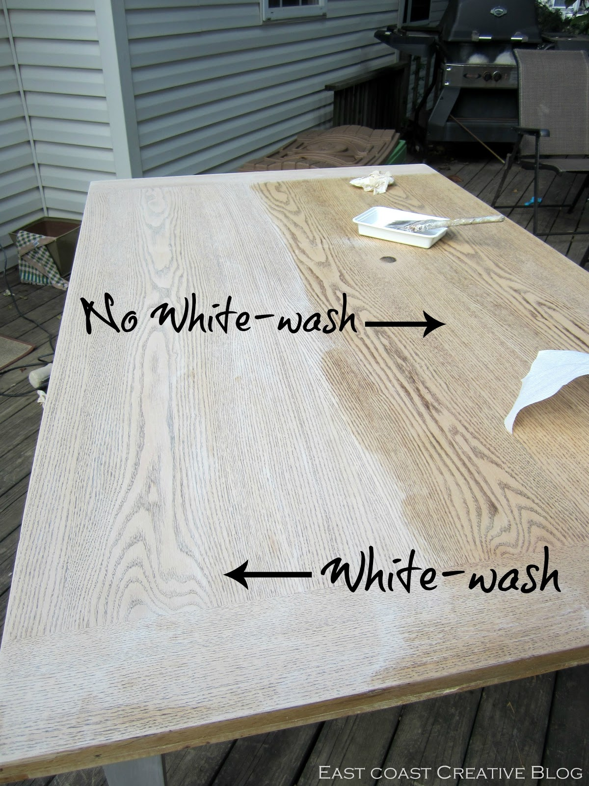 refinished dining room table furniture whitewash kitchen table Refinished Dining Room Table Furniture Makeover East Coast Creative Blog
